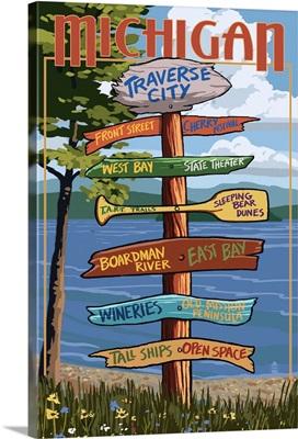 Traverse City, Michigan - Sign Destinations: Retro Travel Poster