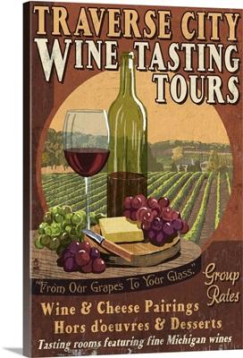 Traverse City, Michigan - Wine Tasting Vintage Sign: Retro Travel Poster