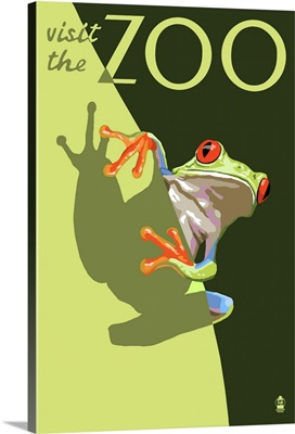 Tree Frog - Visit the Zoo: Retro Travel Poster