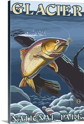 Trout Fishing Cross-Section - Glacier National Park, Montana: Retro Travel Poster