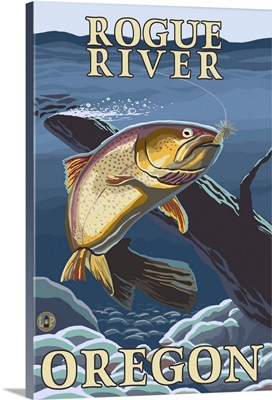 Trout Fishing Cross-Section - Rogue River, Oregon: Retro Travel Poster