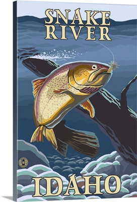 Trout Fishing Cross-Section - Snake River, Idaho: Retro Travel Poster