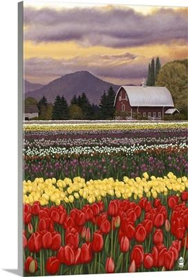 Tulip Farm: Retro Poster Art