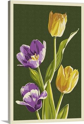 Tulips - Letterpress: Retro Art Poster