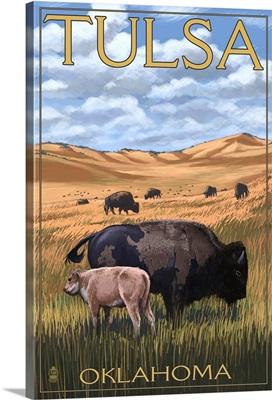 Tulsa, Oklahoma - Buffalo and Calf: Retro Travel Poster