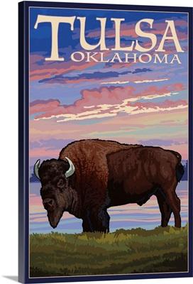 Tulsa, Oklahoma - Buffalo and Sunset: Retro Travel Poster