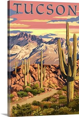 Tuscon, Arizona Sunset Desert Scene: Retro Travel Poster