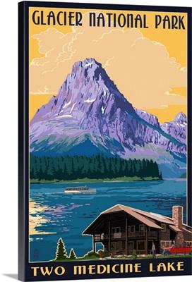 Two Medicine Lake - Glacier National Park, Montana: Retro Travel Poster