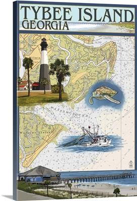 Tybee Island, Georgia - Nautical Chart: Retro Travel Poster