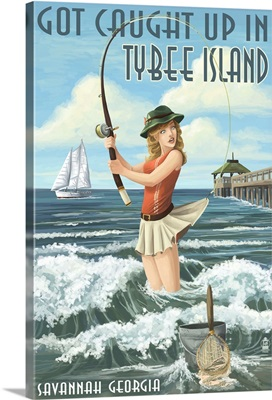 Tybee Island, Georgia - Pinup Girl Fishing: Retro Travel Poster