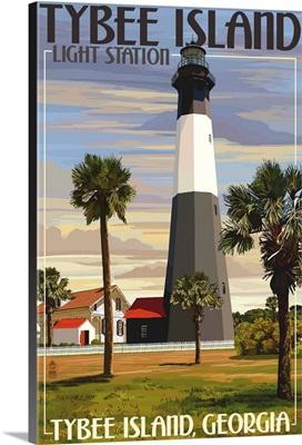 Tybee Island Light Station, Georgia: Retro Travel Poster