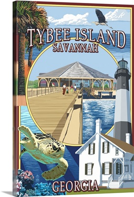 Tybee Island - Savannah, Georgia - Montage: Retro Travel Poster