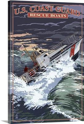 U.S. Coast Guard - 44 Foot Motor Life Boat: Retro Travel Poster