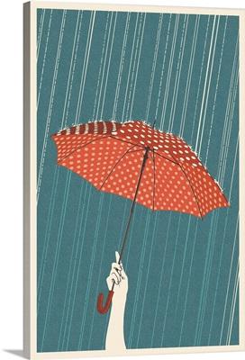 Umbrella - Letterpress: Retro Art Poster