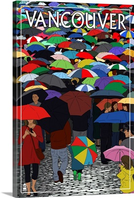 Umbrellas - Vancouver, BC: Retro Travel Poster