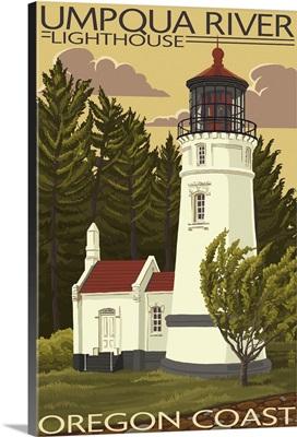 Umpqua River Lighthouse - Oregon: Retro Travel Poster