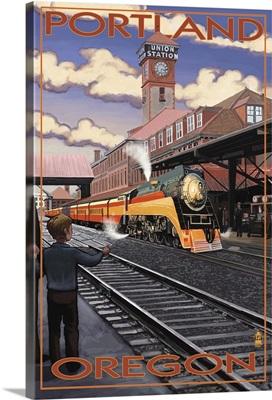 Union Train Station - Portland, Oregon: Retro Travel Poster