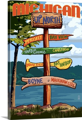Up North, Michigan - Sign Destinations: Retro Travel Poster
