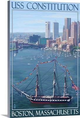 USS Constitution and Boston Skyline: Retro Travel Poster
