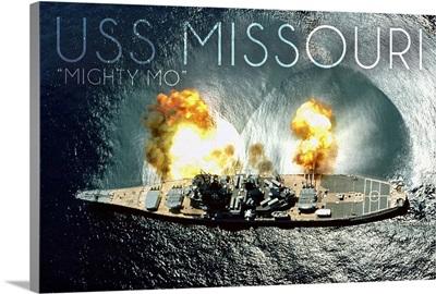 USS Missouri, Aerial Firing
