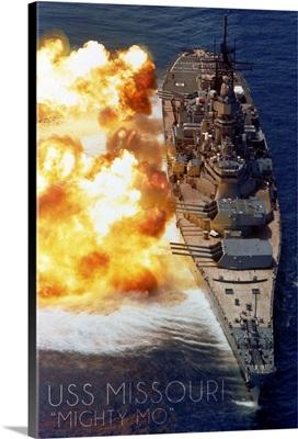 USS Missouri, Guns Firing