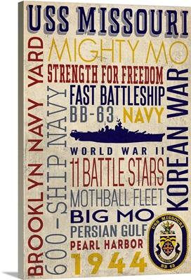 USS Missouri, Typography