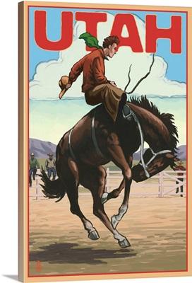 Utah - Bronco Bucking: Retro Travel Poster