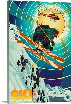 Utah -  Heli-Skiing: Retro Travel Poster