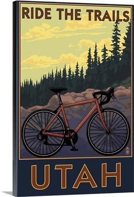 Utah - Mountain Bike Scene: Retro Travel Poster