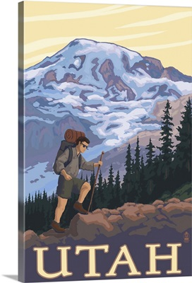 Utah - Mountain Hiker: Retro Travel Poster