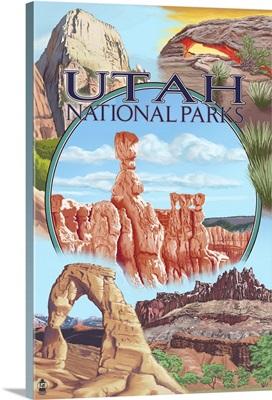 Utah National Parks - Bryce in Center: Retro Travel Poster