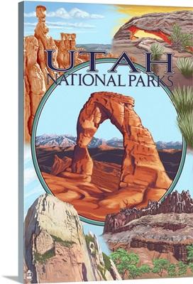 Utah National Parks - Delicate Arch Center: Retro Travel Poster