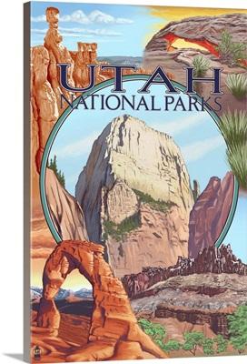 Utah National Parks - Zion in Center: Retro Travel Poster