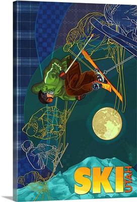 Utah - Timelapse Skier: Retro Travel Poster
