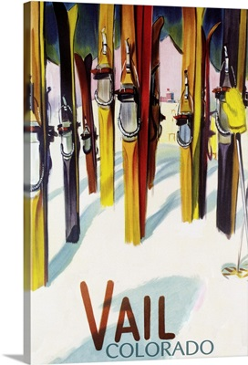 Vail, CO - Colorful Skis: Retro Travel Poster