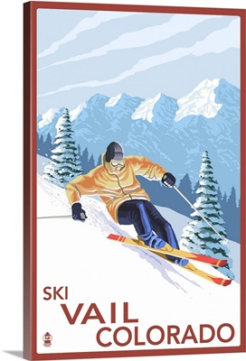 Vail, CO - Downhill Skier: Retro Travel Poster