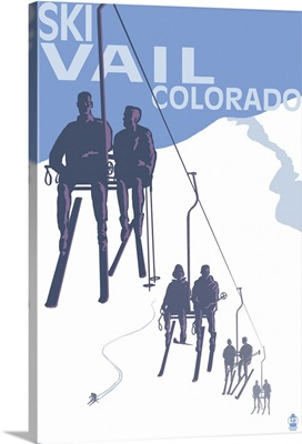 Vail, CO - Ski Lift: Retro Travel Poster