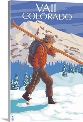 Vail, CO - Skier Carrying Skis: Retro Travel Poster