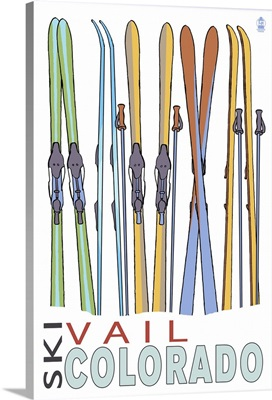 Vail, CO - Skis in Snow: Retro Travel Poster