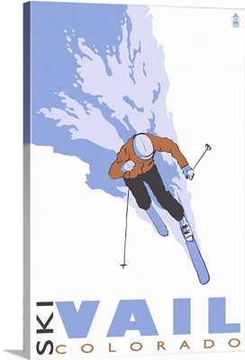 Vail, CO - Stylized Skier: Retro Travel Poster