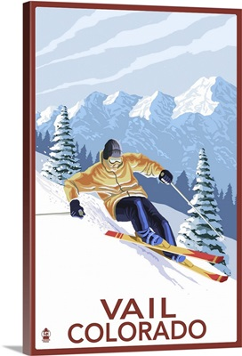Vail, CO - Vail Downhill Skier: Retro Travel Poster