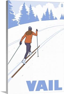 Vail, Colorado, Cross Country Skier Stylized