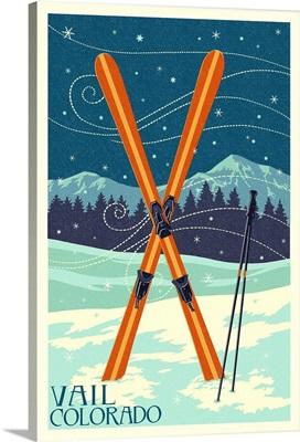 Vail, Colorado - Crossed Skis - Letterpress: Retro Travel Poster