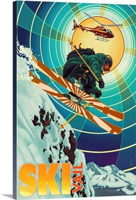 Vail, Colorado -  Heli-Skiing: Retro Travel Poster
