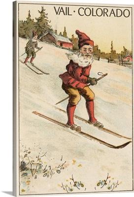 Vail, Colorado - Santa Skiing: Retro Travel Poster