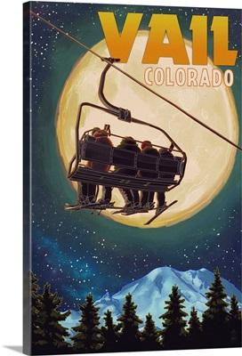 Vail, Colorado - Ski Lift and Full Moon: Retro Travel Poster