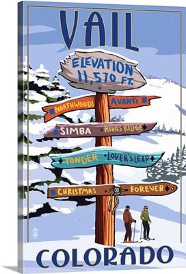 Vail, Colorado - Ski Signpost: Retro Travel Poster