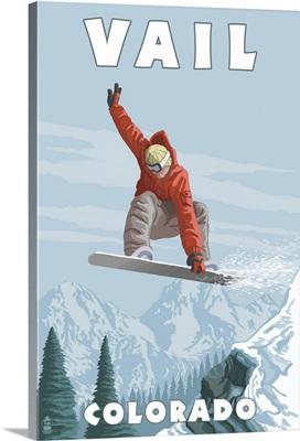 Vail, Colorado - Snowboarder Jumping: Retro Travel Poster
