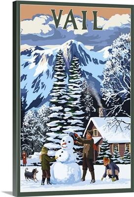 Vail, Colorado, Snowman Scene