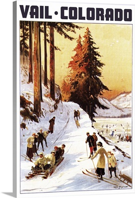 Vail, Colordao - Sledding and Skiing: Retro Travel Poster
